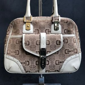 GUCCI horsebit canvas handbag